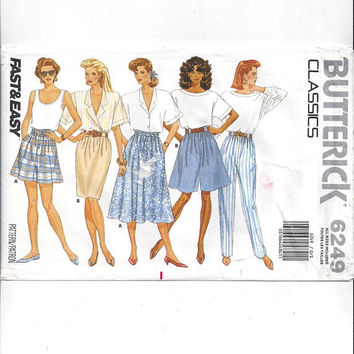 Butterick 6249 Pattern for Misses' Pants, Shorts, Skirt, Sz S to XL, FACTORY FOLDED, UnCUT, From 1988, Vintage Pattern, Home Sewing Pattern