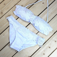 2017 new bikini swimsuit pure white lace