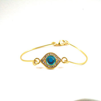 Topaz Blue Rhinestone Charm and Gold Wire Wrapped Bangle Inspired Bracelet