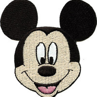 Disney Mickey Mouse Face Embroidered Iron On Applique Patch