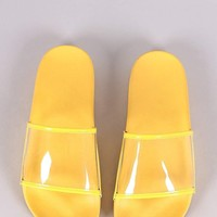 Transparent Band Open Toe Slide Sandal