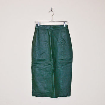Vintage 80s Forest Green Leather Skirt High Waist Skirt Midi Skirt Body Con Bodycon Fitted Wiggle Motorcycle Skirt Biker Skirt M Medium