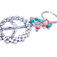 Peace Sign Keychain with Heishi Beads
