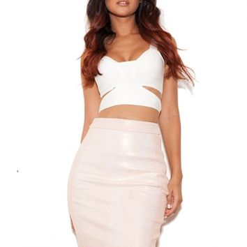 Clothing : Skirts : 'Sachi' Pearlised Pink Real Leather Stingray effect Pencil Skirt - Limited Edition