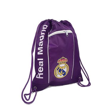 Real Madrid Cinch Bag Sack Soccer Book  Backpack Authentic Official white Purple