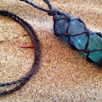 Fluorite Necklace Crystal Necklace Hemp Wrapped Fluorite Tower Crystal Healing Crystals and Stones Hemp Crystal Necklace Long Stone Necklace