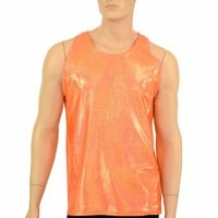 Mens Orange Sparkly Jewel Muscle Tank