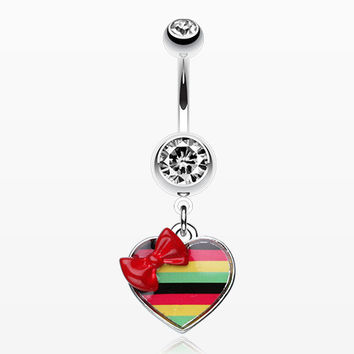 Rasta Stripe Red Bow Heart Belly Ring