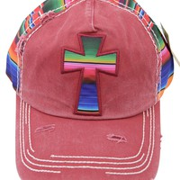 Mexican Serape Cross Distressed Baseball Cap