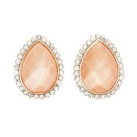 Glitter Stone Statement Stud Earrings by Charlotte Russe - Pale Peach