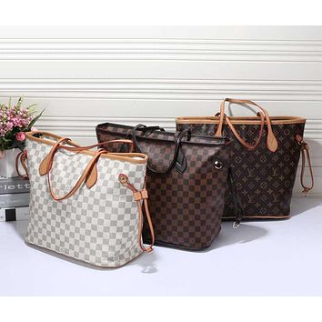 LV Louis Vuitton Handbag Women Leather Bag Tote Shoulder Bag Two piece And Key pouch-Coin purse