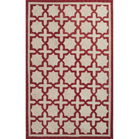 Jaipur Rugs IndoorOutdoor Moroccan Pattern White/Red Polyester Area Rug CAT06 (Rectangle)