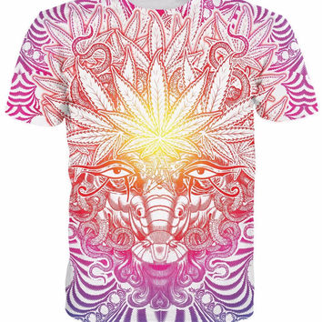 Alisister 3d Weed Goat t shirt psychedelic baphomet style Weed Leaf tops tees me