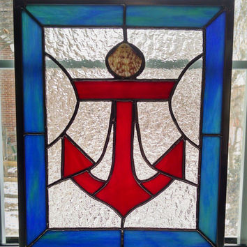 Anchor Stained Glass Window Panel - Nautical Decor - Beach Decor - Ocean - Seashell - Boat - Blue - Red