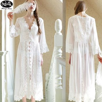 Summer Dress Style White Lace Dress New Palace Exquisite Beauty Sexy Nightdress Long White Lace Nightgown Suitable For All Women