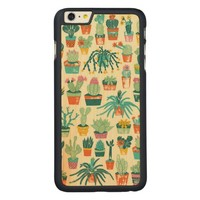 Cactus Flower Pattern Carved® Maple iPhone 6 Plus Slim Case