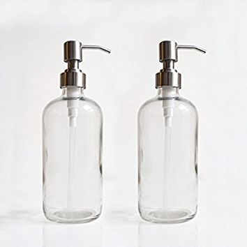 11216 Home Goods 17.5-Ounce Clear Glass Dispenser Bottles with Stainless Steel Pumps (2 pack) for Liquid Soap, Lotion, Shampoo, Essential Oils, and More by