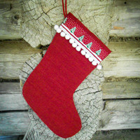 Set of 3 Christmas Stocking Christmas Gift Christmas Decor Holiday Decor Personalized Stocking Burlap Christmas Ornament Scandinavian
