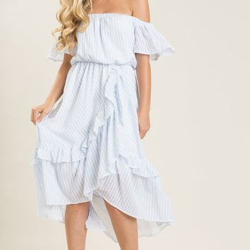 Marianne Blue Stripe Off the Shoulder Ruffle Dress