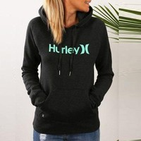 ONETOW OPAL FERRIE -  Long Sleeve Hurley Printed Pullover Cotton Hoodies