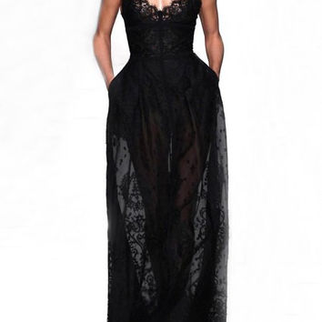 Black Spaghetti Strap Floral Lace Maxi Dress