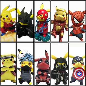 Original Boxed Funny Pikachu Cosplay Naruto Avengers Deadpool Spiderman Dragon Ball Mario Action Figures 14cm PVC Model Toy