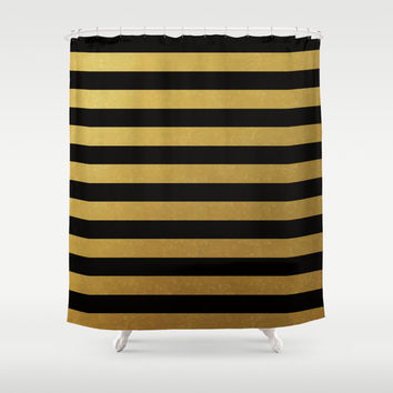 Black Gold Bold Stripes Shower Curtain by Doucette Designs