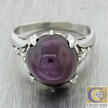 Antique Art Deco Estate Platinum 10ctw Purple Star Ruby Diamond Engagement Ring