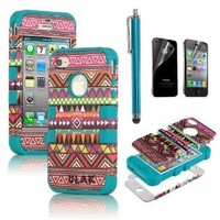 iPhone 4S Case, iPhone 4 Case, ULAK Unique Tribal Heavy Duty Hybrid Rugged High Impact Shockproof Hard Case for iPhone 4S iPhone 4 Cover with Screen Protector and Stylus (Pink/Blue)