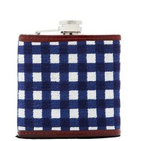 Needlepoint Gingham Flask