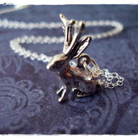 Tiny Jackalope Charm Necklace in Sterling Silver with a Delicate 18 Inch Sterling Silver Cable Chain