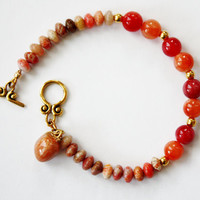 Peachy Bracelet, Holiday Gift Idea, Peach Charm, Beaded Bracelet, Unique Gift, Stacking bracelet, READY TO SHIP
