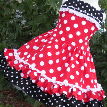 Custom Boutique Red Minnie Dot Dress Mouse by hottotscoolkids2