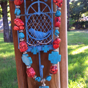 Santa Fe- Cross- Turquoise and Coral Chunky Beaded Necklace and Earring Set