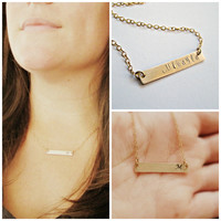 Gold Bar Necklace Name Necklace Personalized Jewelry Gifts Initial necklace Engraved necklace Name plate necklace