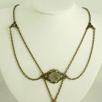 VictorianFolly SteamPunk Neo-Victorian Necklace with Vintage Watch Movement and Heart Lock