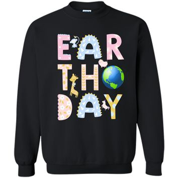 Monkey Giraffe Pig Unicorn Earth Day Shirt For Kids Printed Crewneck Pullover Sweatshirt 8 oz