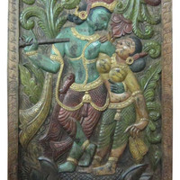 "Consigned Dancing Krishna Radha Teak Wood Wall Panel 72 X 36"" - Asian - Wall Accents - by Mogul Interior"