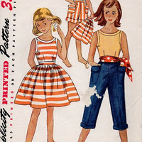 Simplicity 50s Sewing Pattern Girls Playsuit Pedal Pusher Capri Pants Shorts Skirt Sleeveless Blouse Beach Dress Size 12