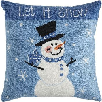 Hand-Tufted Let It Snow Pillow