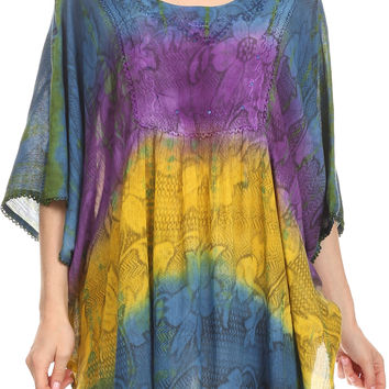 Sakkas Ellesa Ombre Tie Dye Circle Poncho Blouse Shirt Top With Sequin Embroidery