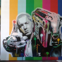 Painting of Eminem, stencils & spray paints on canvas 24 by 24 inches, hip hop, rap, music, pop art, fan art, detroit, america, hand made