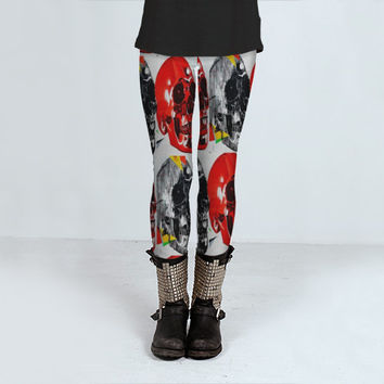 Skull Print Leggings - FREE shipping to USA polyester spandex footless tights emo punk rock hipster red black white legging skeleton dead