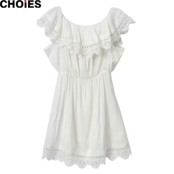 CHOIES Women 2015 Summer White/Black Lace Pleated Mini Dress Off The Shoulder Ruffles Frill Elastic Waist Tunics vestidos