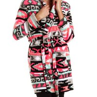 Aztec Print Hooded Plush Robe by Charlotte Russe - Black Combo