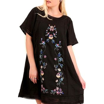 Curvy Short Sleeve A-Line Dress with Floral Embroidery, Black