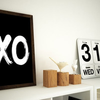 "X O Print 11x14 or 12x16 (A3) Typography Art ""XO"" Hugs & Kisses"
