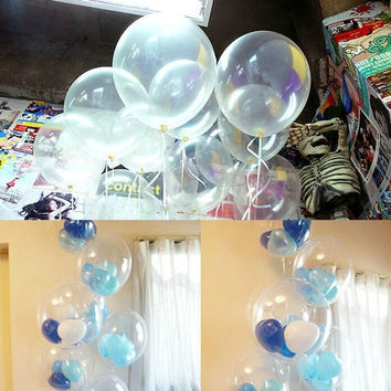 "100Pc Clear 12"" Transparent Latex Balloons Christmas Oxmas Birthday Party Decor = 1932495172"