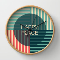 Happy Place Sign Wall Clock by ArigigiPixel