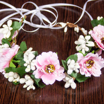Flower Wedding Bridal Crown, Rustic Bride Wreaths, Floral Garland Hair Crown, Flower by LoveKnittings
